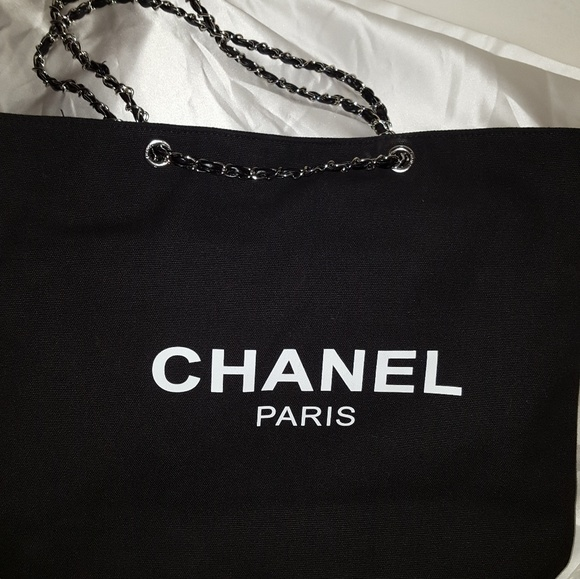 90305d222f14e3 CHANEL Bags | Authentic Vip Gift Black Canvas Tote Bag | Poshmark